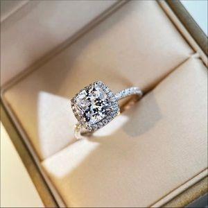 Pt950 platinum 2 carats Diamond moissanite Ring